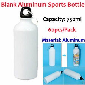 60pcs pack 750ml Blank Aluminum Sports Bottle For Sublimation Printing White