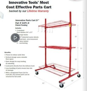 Innovative Tools D Series Mobile Autobody Parts Storage Rack Shelf Cart