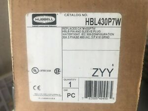 Hubbell Hbl430p7w Pin Sleeve Watertight Plug 30 Amp New
