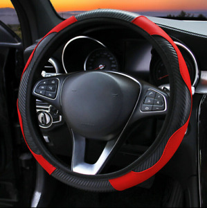 Universal 15 38cm Sport Car Steering Wheel Cover Non Slip Pu Leather Black Red