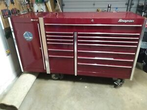 Snap On 14 Drawer Tool Box With Side Box Cabinet berry