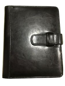 Classic Black Simulated Leather Day Planner 7 Ring Binder By Day timer 1 Ring