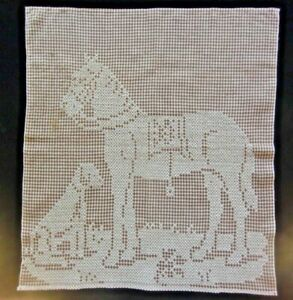 Vintage Antique Cross Stitch Horse Dog Embroidery On Cotton Homespun Fabric