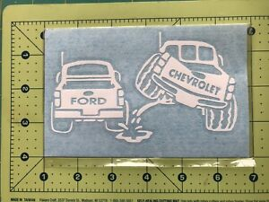 Chevy Piss On Ford Truck Vinyl Decal Diecut Sticker Vehicle Toolbox Window 229