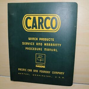 Carco Winch Dealer Service Report Bulletin Warranty Manual Parts Owner Book