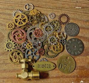 Vintage Brass Pressure Gauge Valve Valves Steampunk Project Gear Gears Lot