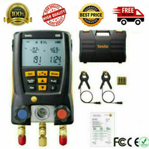 Testo 550 Refrigeration Meter Digital Manifold 0563 1550 2pcs Clamp Probes Kit