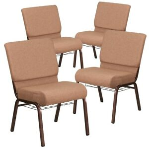 4 Pk Hercules Series 21 Wide Brown Fabric Church Chair With 4 Thick