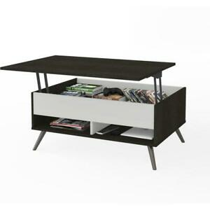 Bestar Small Space Krom 37 inch Lift top Storage Coffee Table In Deep Grey