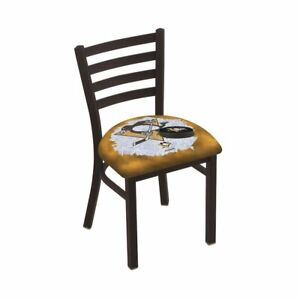 L00418 Black Wrinkle Pittsburgh Penguins Stationary Chair With Ladder Style