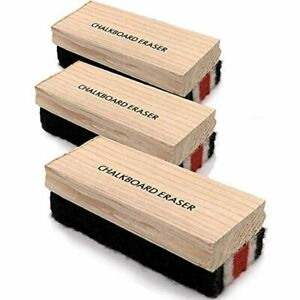 Kicko Felt Chalkboard Erasers With Wooden Handles 3 Pack Office Products