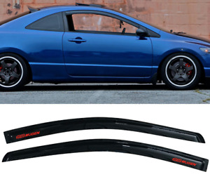 Fit For 06 11 Honda Civic Coupe Window Visor Rain Guard Vent Shade W Red Mugen
