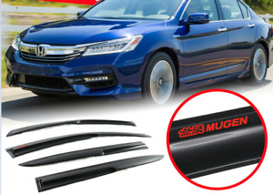 Fit 13 17 Accord 4dr Mugen Style Window Visor Rain Guard Vent Shade W Red Mugen
