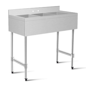 Commercial Sink 3 compartment Stainless Steel Kitchen Utility Prep 38 x19 x39