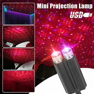 Usb Car Interior Led Light Roof Atmosphere Sky Lamp Star Projector Red Purple