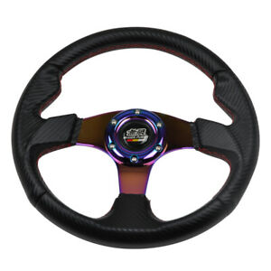320mm Neo Chrome Spoke Red Stitch 6 Bolt Carbon Look Racing Steering Wheel