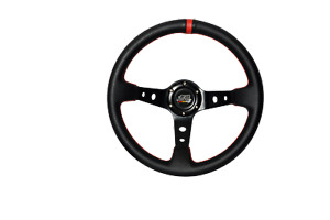 350mm Black Pvc Leather Red Stitch Deep Dish Racing Steering Wheel W Mugen
