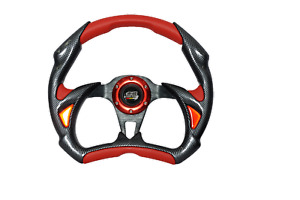 320mm Black Carbon Red Pvc Battle Type Steering Wheel W Mugen Universal Fit
