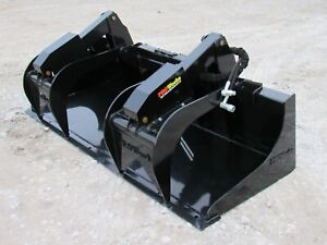 84 Severe Duty Solid Bottom Scrap Bucket Grapple Skid Steer Loader Attachment