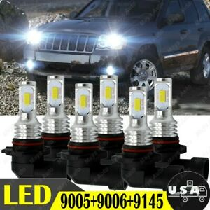 Combo 9005 9006 9145 Led Headlight Fog Light For Jeep Grand Cherokee 2007 2010