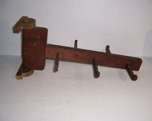 Antique Primitive Wall Mount Swivel Wooden Peg Herb Drying Rack
