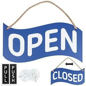Open Closed Sign For Business Bundle With 2 Suction Cup Pull And Push Sticker