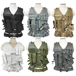 VISM Cross Draw Airsoft Tactical Vest w Holster by NcSTAR Regular Size CTV2916 $49.95