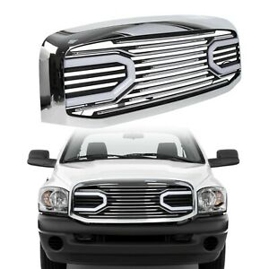 For 06 09 Dodge Ram 2500 Front Hood Chrome Big Horn Grille Shell With Led Light