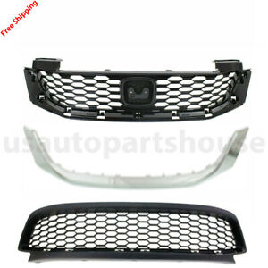 New For Honda Accord Coupe 2013 2015 Front Bumper Upper Lower Grille 3pc
