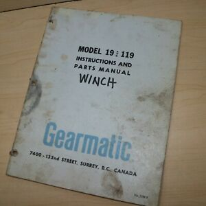 Gearmatic 19 119 Winch Owner Operator Operation Repair Shop Service Manual Book