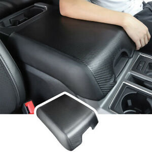 Carbon Fiber Armpad Center Console Armrest Cover For Ford F150 2015 2020 Leather