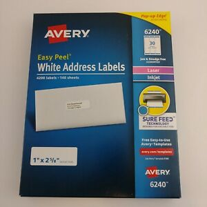 Avery 6240 5160 8160 Easy Peel White Address Labels 4200 Labels Laser inkjet