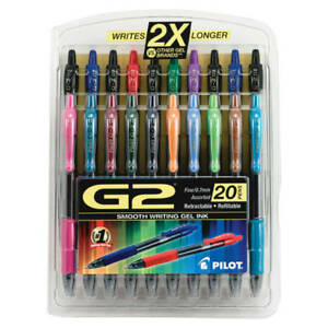 Pilot G 2 Assorted Ink Retractable Gel Ink Pens Fine Point 0 7 Mm 20 pack