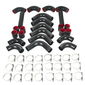 Auto Universal Turbo 2 5 Inch Aluminum Intercooler 12pcs Piping Kit Black Red