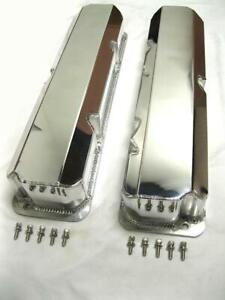 Polished Ford Fe V8 Tall Fabricated Aluminum Valve Covers W O Hole 352 390 427