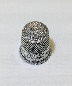 Simon Brothers Sterling Silver Thimble Size 8 Love Birds Sewing 1856