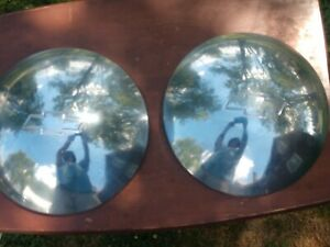 Chevy Logo Dome Baby Moon Dog Dish Hubcaps Set Of 2 Vintage Used