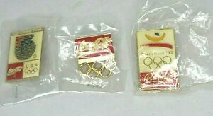 Coca-Cola Olympic Pins Lot Of 3 Olympic Rings Barcelona 1992  & US Cycling Team