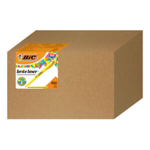 Bic Brite Liner Highlighters Chisel Tip Yellow Box Of 200