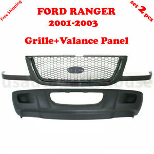 For 2001 2003 Ford Ranger 2 4 door Front Grille Bumper Lower Valance Set 2pcs