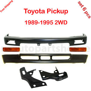 For Toyota Pickup 1989 95 2wd Front Bumper Bar Valance Bracket Turn Light Black
