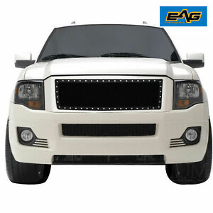 Eag Fit 07 14 Ford Expedition Black Steel Wire Mesh Rivet Grille Insert