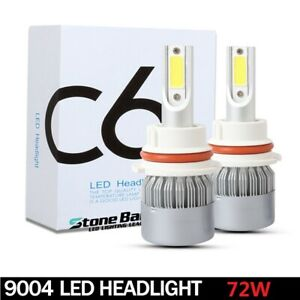 9004 Hb1 Cob Led Headlight Conversion Kit Bulbs 72w 16000lm Lamp Hi lo 6000k