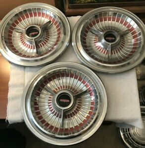 14 1963 Oldsmobile Starfire 98 Accessory Hubcaps W spinner Center Qty 3