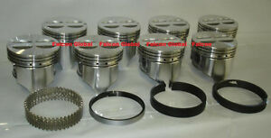 Chevy 327 Sealed Power Speed Pro Cast Flat Top Pistons Moly Rings Set Kit 030