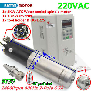 3kw Bt30 Atc Water Cooled Automatic Tool Change Spindle 220v Motor 3 7kw Nverter