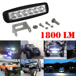 1pc 6inch 18w Led Work Light Bar 4wd Offroad Flood Pods Fog Atv Suv Driving Lamp