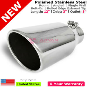 Stainless Truck Angled Polished 12 Inch Bolt on Exhaust Tip 3 In 5 Out 213199