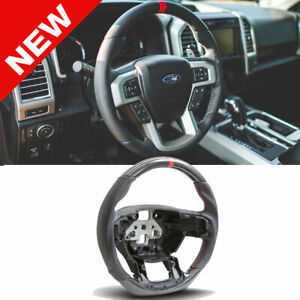 Handkraftd 2015 2020 Ford F150 Steering Wheel Hydro Carbon leather red Stitch