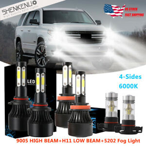 6x Combo Led Headlight Bulbs High Low Beam fog Light X7 For Chevy Tahoe 2015 19